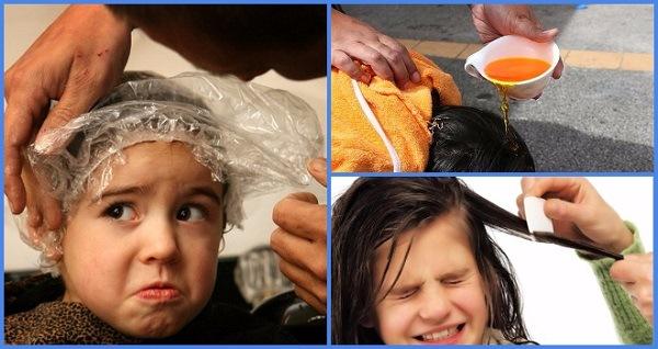 Обработка головы против гнид и вшей